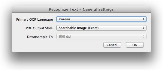 Acrobat Korean OCR